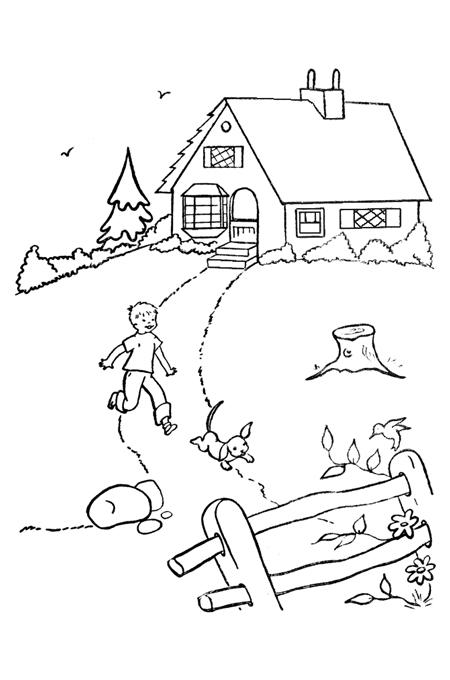 صور تلوين منزل للاطفال , اجمل صور تلوين منازل الاطفال